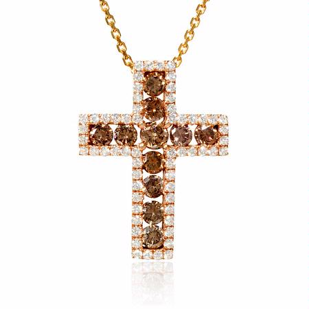 Diamond 18k Rose Gold Cross Pendant