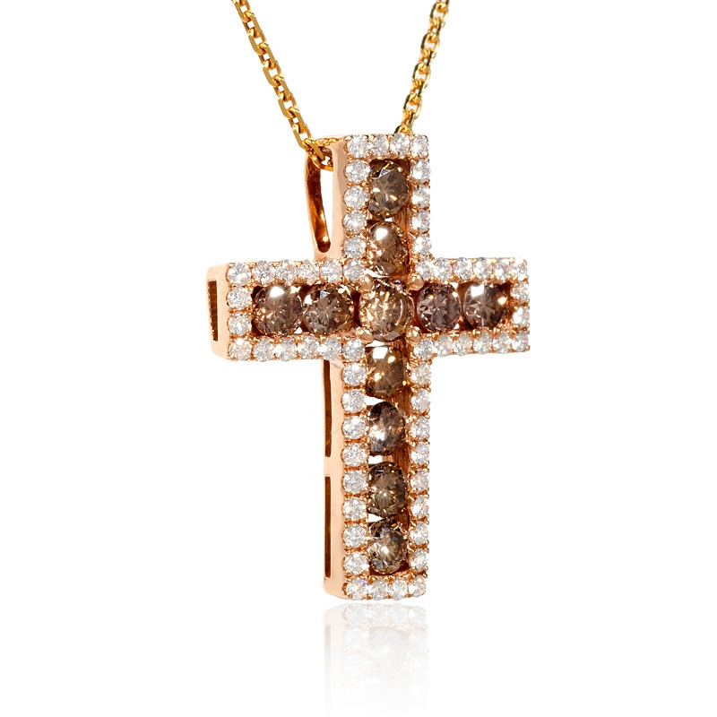 diamond 18k rose gold cross pendant. Black Bedroom Furniture Sets. Home Design Ideas