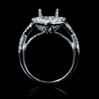 .56ct Diamond 18k White Gold Halo Engagement Ring Setting