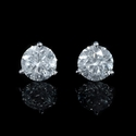 Diamond 2.02 Carats 18k White Gold Stud Earrings