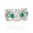 .71ct Diamond and Emerald Antique Style 18k White Gold Ring