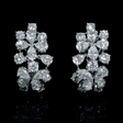 6.59ct Diamond 18k White Gold Cluster Earrings