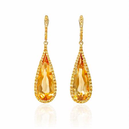 Yellow Sapphire and Citrine 18k Yellow Gold Dangle Earrings