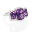 .24ct Diamond and Purple Amethyst 18k White Gold Ring