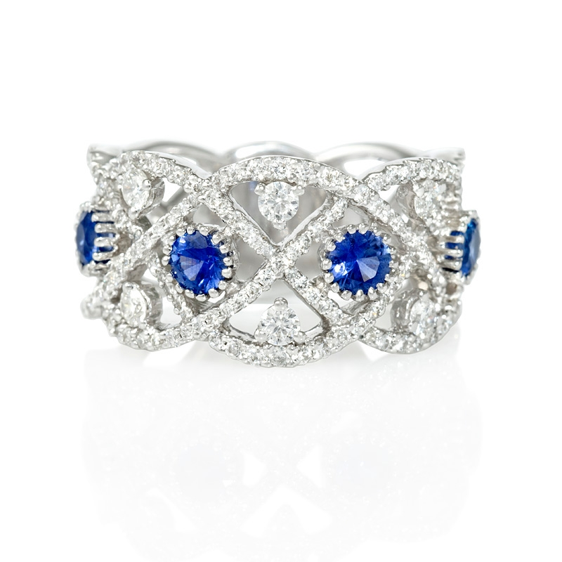 76ct and blue sapphire antique style 18k white