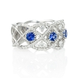 .76ct Diamond and Blue Sapphire Antique Style 18k White Gold Ring
