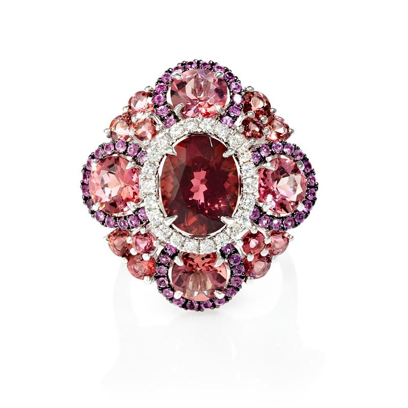 31ct Diamond Pink Sapphires and Tourmaline 18k White Gold and Black Rhodium