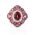 .31ct Diamond, Pink Sapphires and Tourmaline 18k White Gold and Black Rhodium Ring