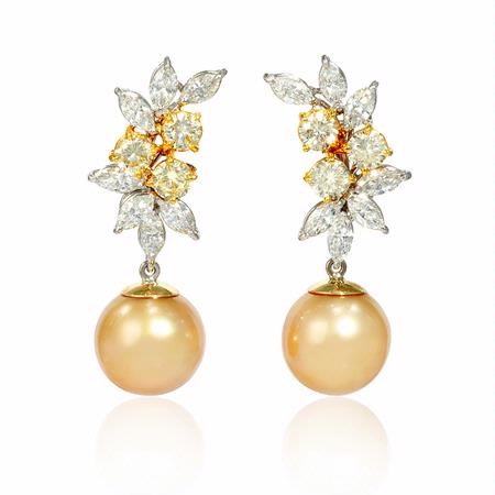 Diamond and Detachable South Sea Golden Pearl 18k Two Tone Gold Dangle Earrings
