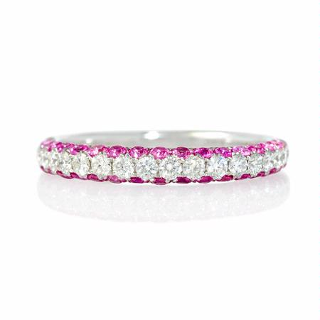Diamond and Pink Sapphire 18k White Gold Ring