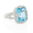 .50ct Diamond and Blue Topaz 18k White Gold Ring