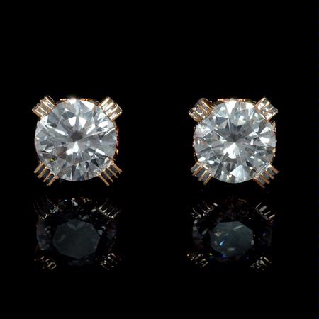 GIA Certified Diamond Platinum and 18k Rose Gold Stud Earrings