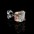 2.80ct GIA Certified Diamond Platinum and 18k Rose Gold Stud Earrings