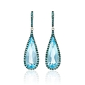 Blue Diamond and Blue Topaz 18k White Gold and Black Rhodium Dangle Earrings