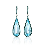 Diamond and Blue Topaz 18k White Gold and Black Rhodium Dangle Earrings