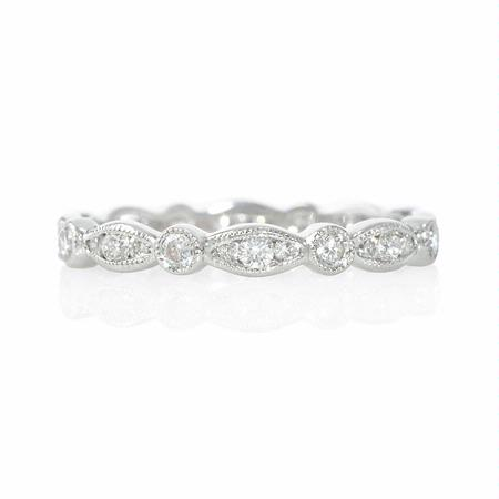 .56ct Diamond Antique Style 18k White Gold Eternity Ring