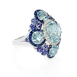 .31ct Diamond, Sapphire, Tanzanite and Aquamarine 18k White Gold and Black Rhodium Ring