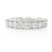 Diamond Antique Style 18k White Gold Wedding Band Ring