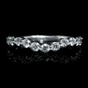 Diamond 18k White Gold Wedding Band Ring Guard