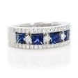 .57ct Diamond and Blue Princess Cut Sapphire 18k White Gold Ring