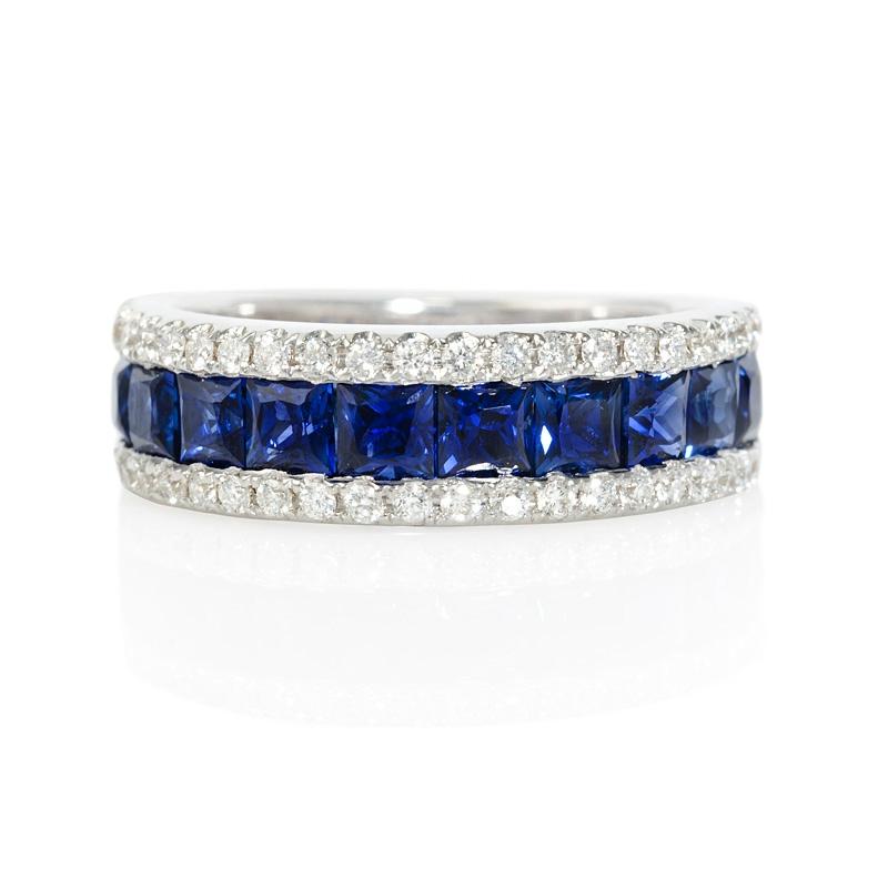 40ct Diamond And Blue Princess Cut Sapphire 18k White