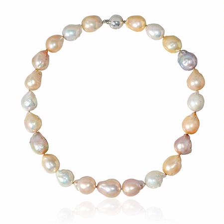Multi-Colored Freshwater Baroque Pearl 14k White Gold Necklace