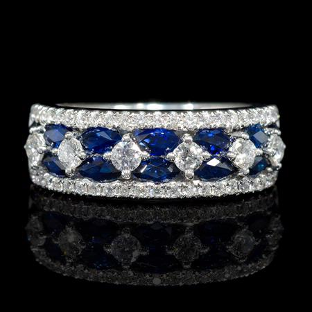 Diamond and Blue Marquise Sapphire 18k White Gold Ring