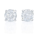 Diamond 1.42 Carats 14k White Gold Stud Earrings