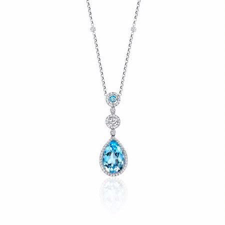 Natalie K Diamond and Blue Topaz 14k White Gold Pendant Necklace