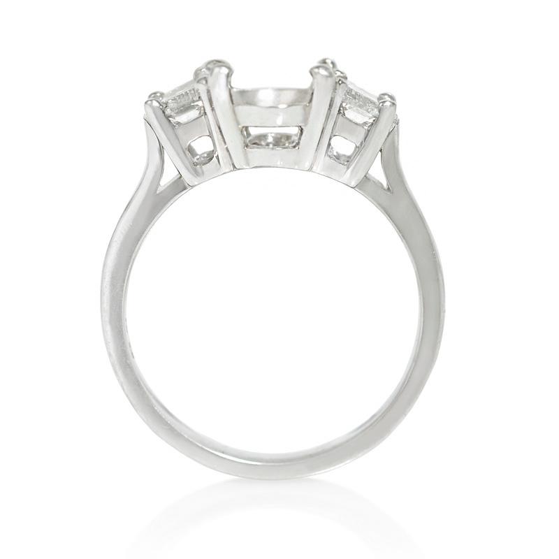 67ct Diamond Platinum Three Stone Cathedral Half Moon Shape Engagement Ring