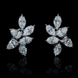6.70ct Diamond 18k White Gold Cluster Earrings
