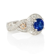 .98ct Diamond and Ceylon Blue Sapphire Antique Style 18k Two Tone Gold Ring