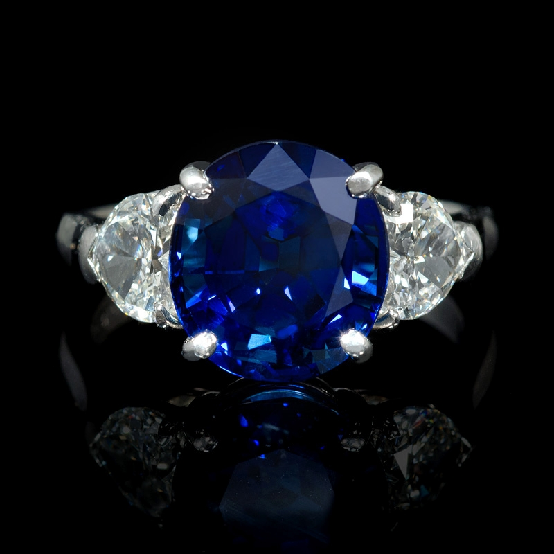 1 05ct and blue sapphire platinum ring
