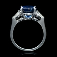 1.05ct Diamond and Blue Sapphire Platinum Ring