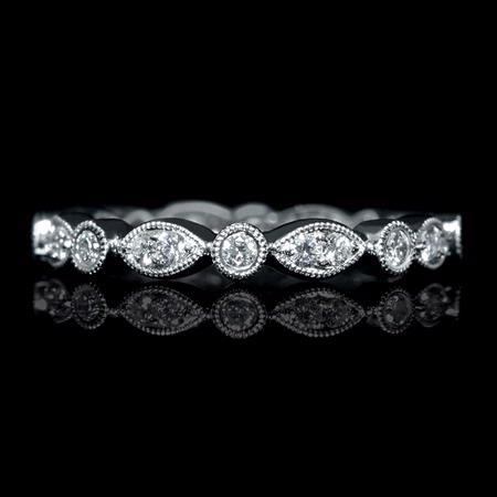 .43ct Diamond Antique Style 18k White Gold Eternity Ring