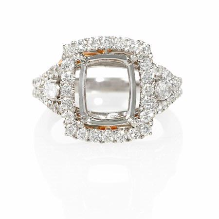 1.18ct Diamond 18k Two Tone Gold Halo Engagement Ring Setting