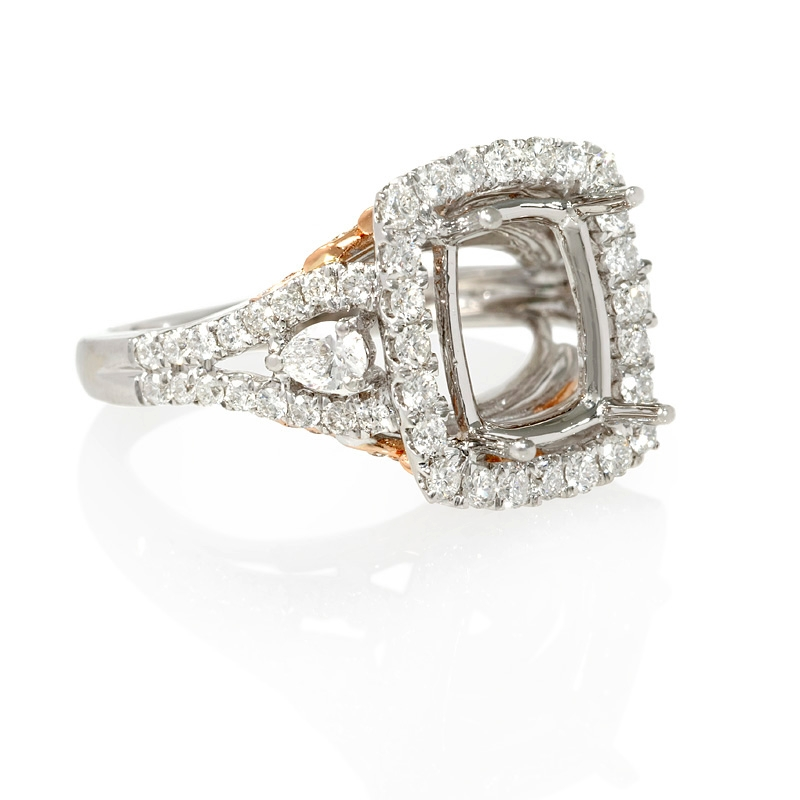 1 18ct 18k two tone gold halo engagement ring setting