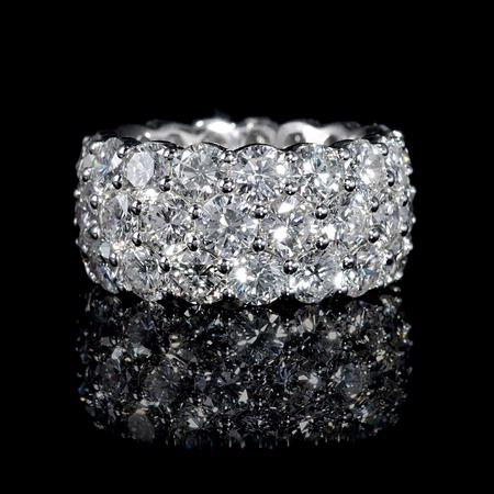 Diamond Three Row 18k White Gold Eternity Wedding Band Ring