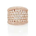 Diamond 18k Rose Gold Wide Band Ring