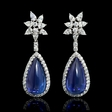7.37ct Diamond and Tanzanite 18k White Gold Dangle Earrings