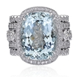 Christopher Designs Diamond and Aquamarine 18k White Gold Ring
