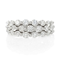 Diamond 18k White Gold Three Row Ring