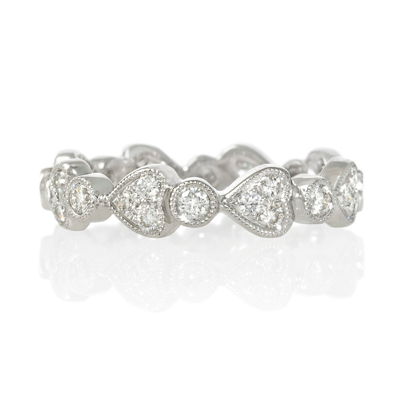 62ct antique style 18k white gold eternity ring