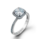 Simon G Diamond 18k White Gold Halo Engagement Ring Setting