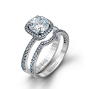 Simon G Diamond 18k White Gold Engagement Ring Setting and Wedding Band Set