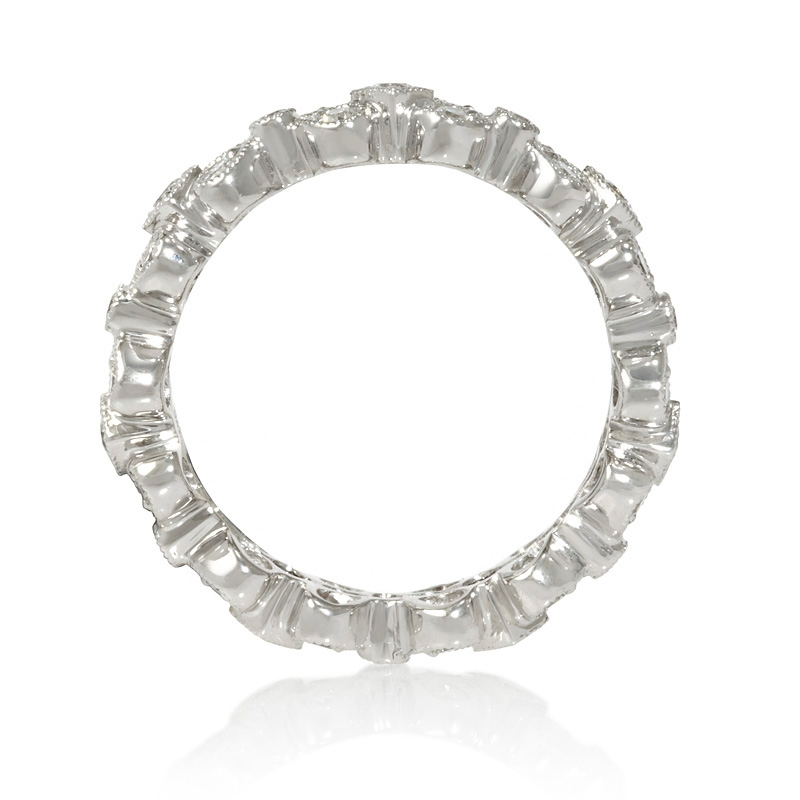 65ct antique style 18k white gold eternity ring
