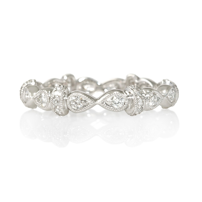 32ct antique style 18k white gold eternity ring