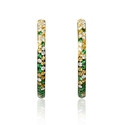 Diamond, Sapphire and Tsavorite 18k Yellow Gold and Black Rhodium Hoop Earrings
