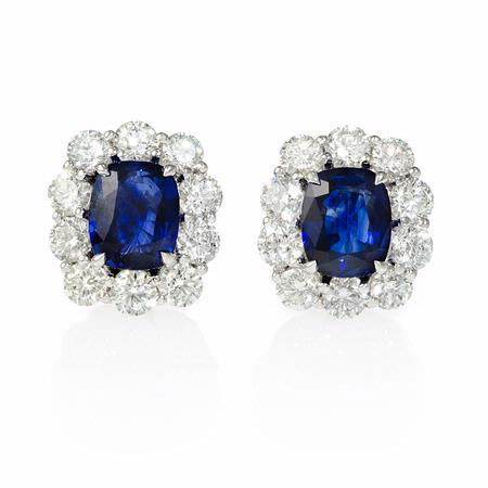 Diamond and Blue Sapphire Platinum Cluster Earrings