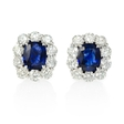 7.13ct Diamond and Blue Sapphire Platinum Cluster Earrings